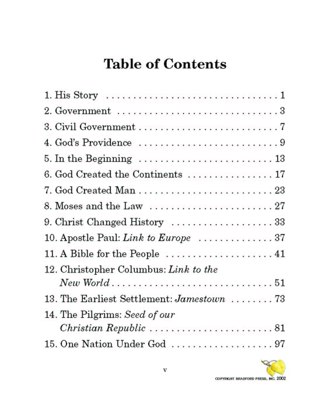 self government  table of contents